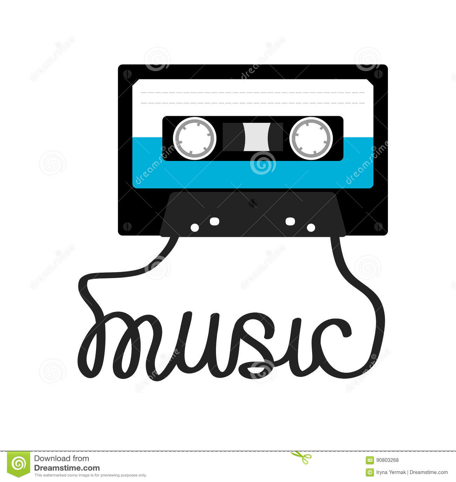 plastic audio tape cassette with tape word music retro. Black Bedroom Furniture Sets. Home Design Ideas