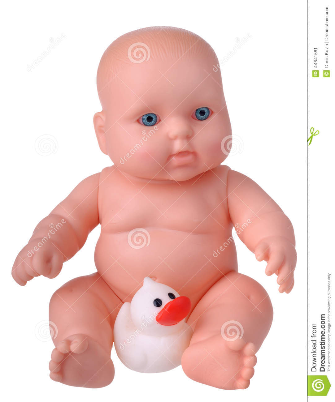 Plastic Baby Doll With Rubber Duck Stock Image Image