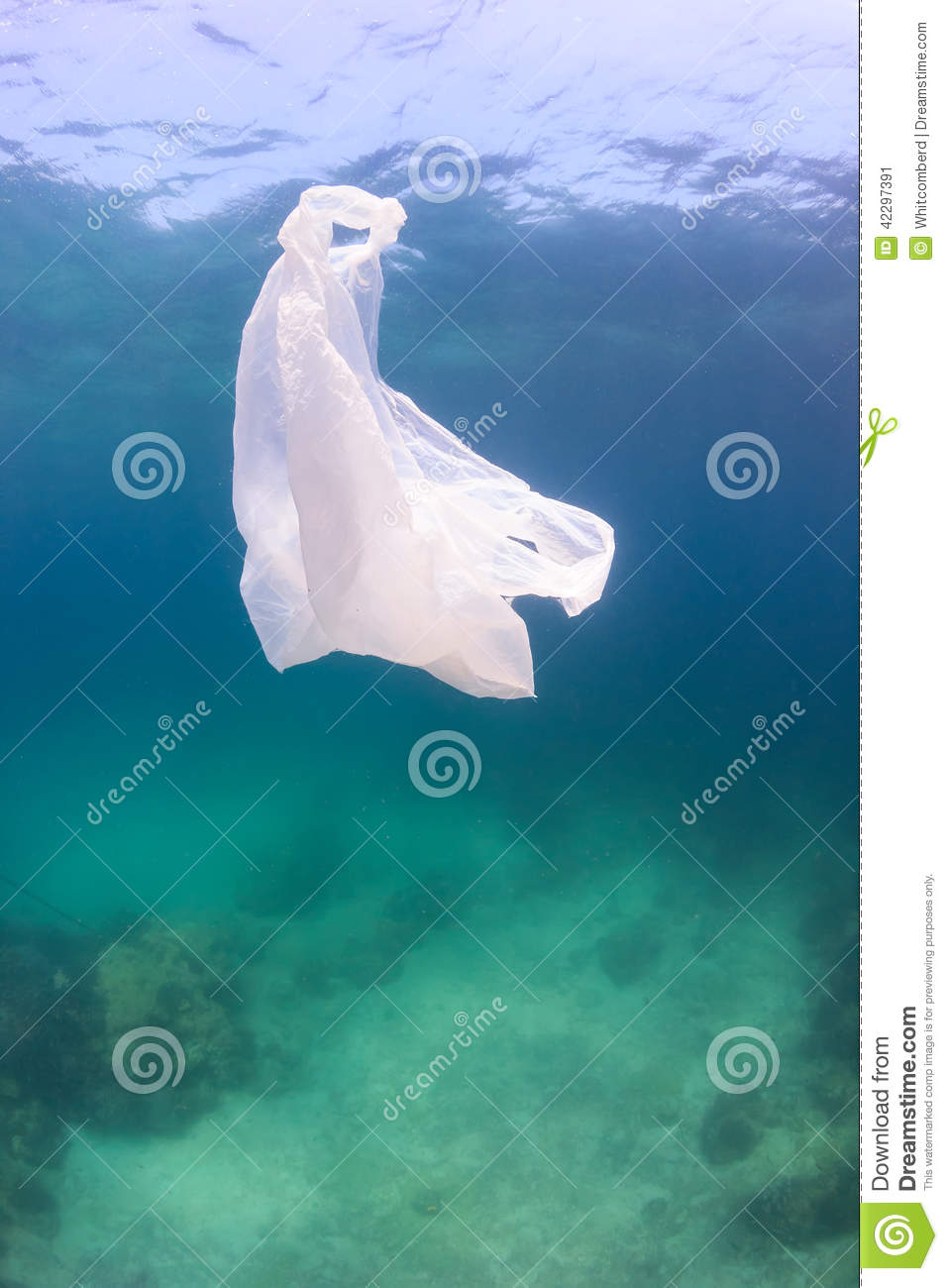 bag floating above green water and a dead seabed. Manmade pollution ...