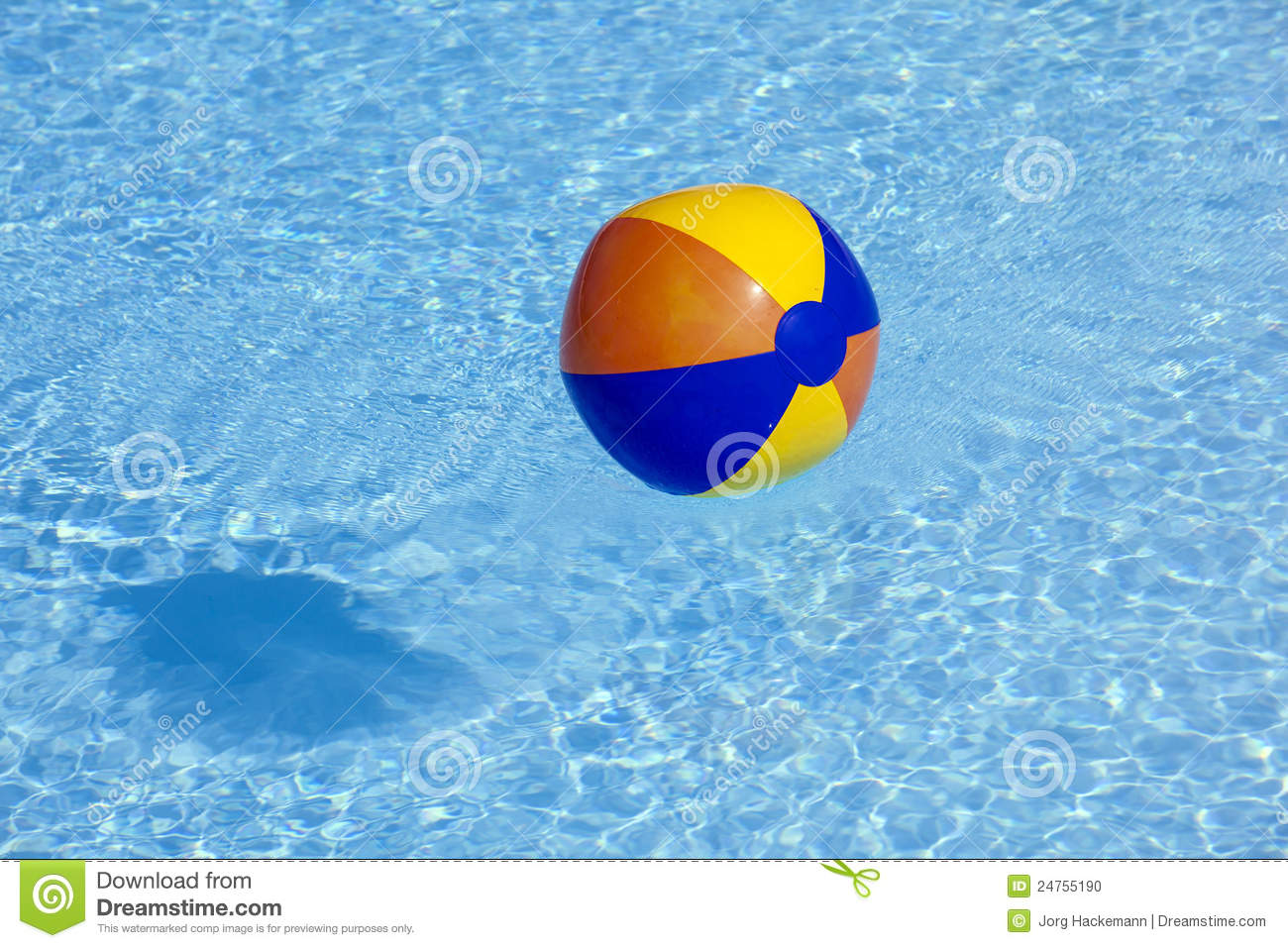 Plastic ball flying in the pool