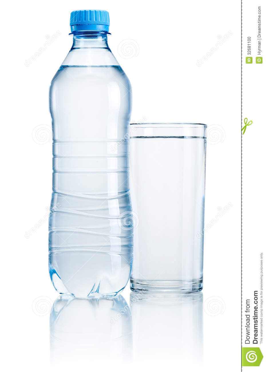 Plastic bottle and glass of drinking water isolated on white background