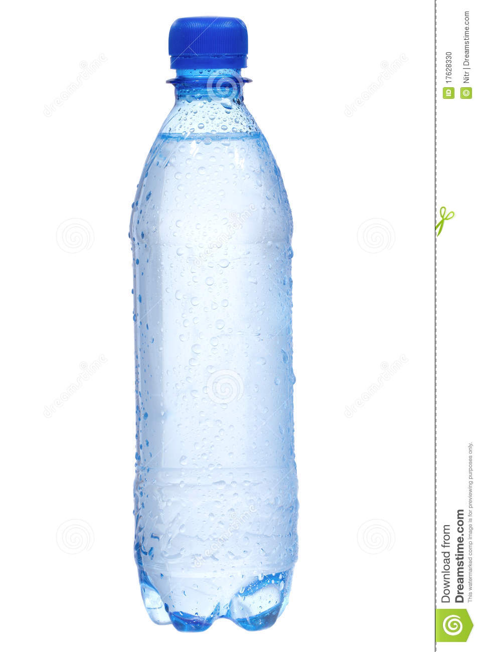 Plastic Bottle With Water Drops Stock Photo