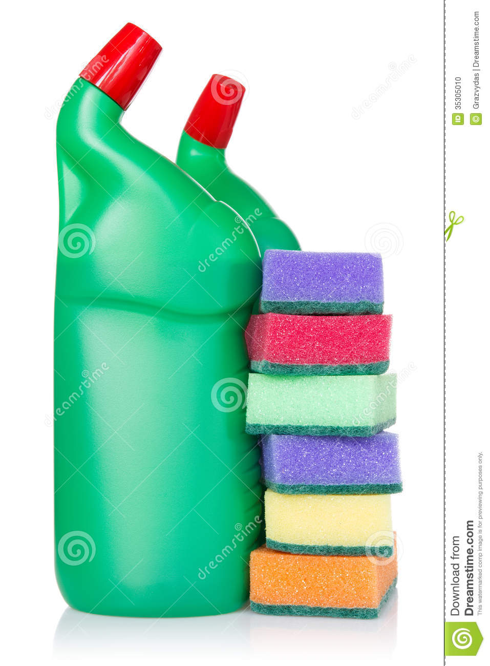 Plastic bottles of cleaning products and kitchen sponges stock photo image 35305010 - Cleaning products for kitchen ...