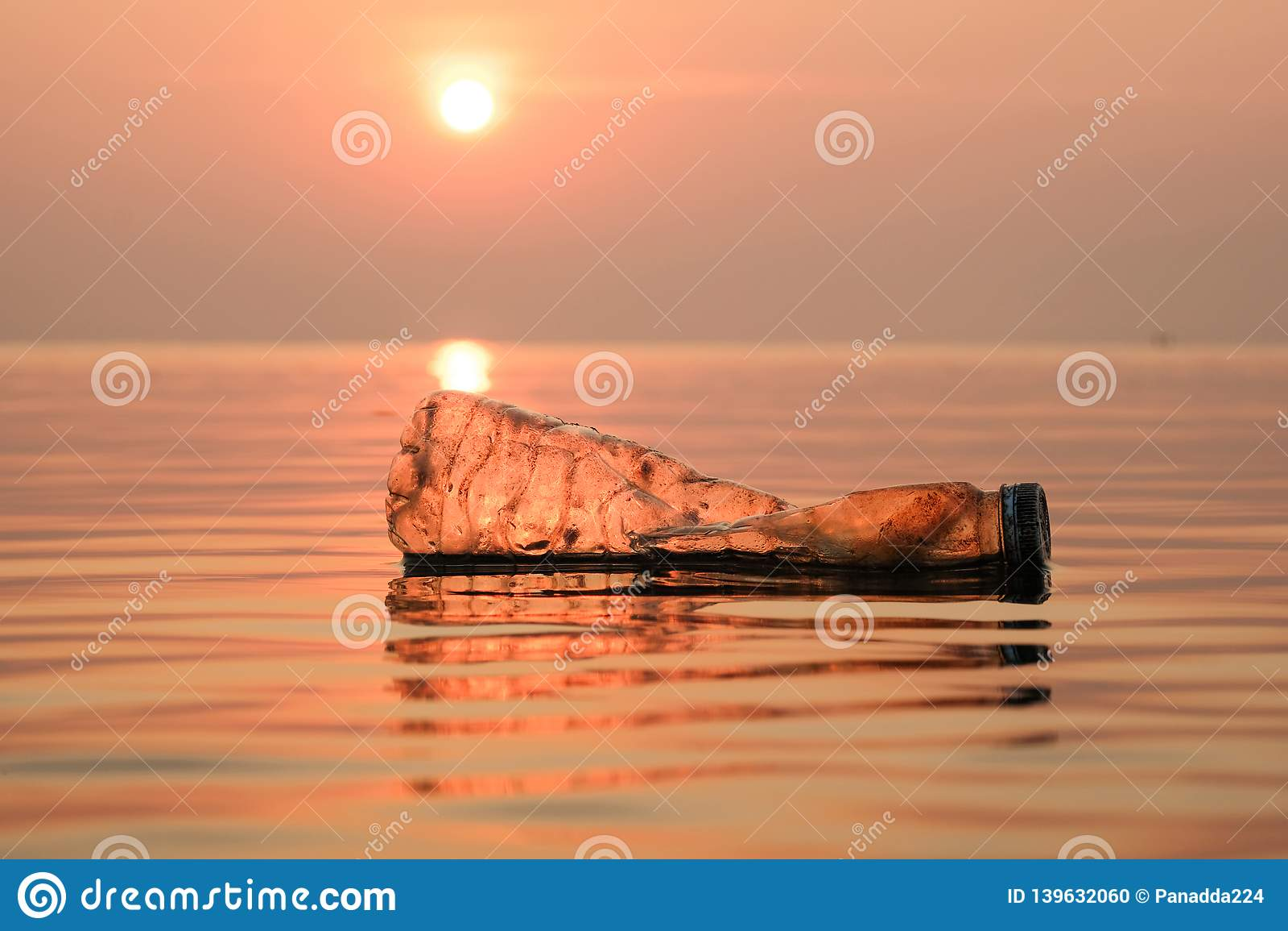 Plastic bottles pollution in ocean ,Environmental pollution.