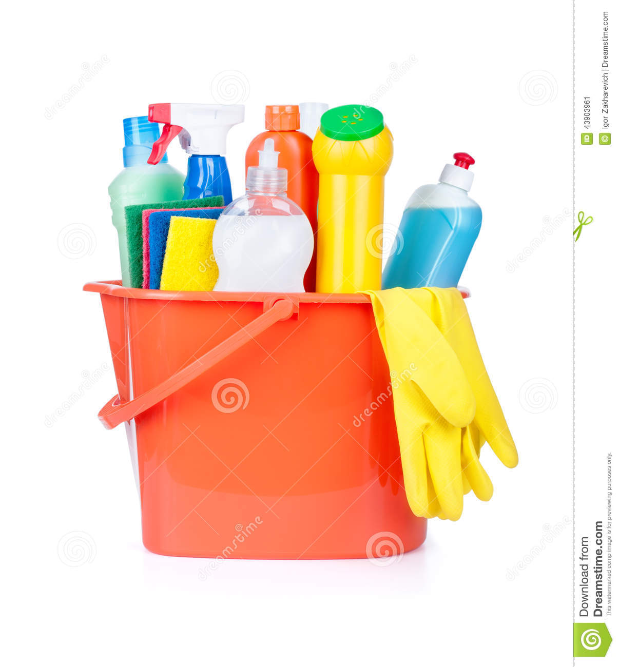 Plastic Bucket With Cleaning Supplies Stock Photo Image