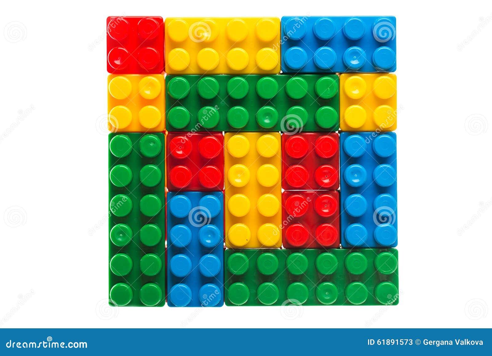 Plastic Building Blocks Or Lego Cubes Isolated On White Stock Image