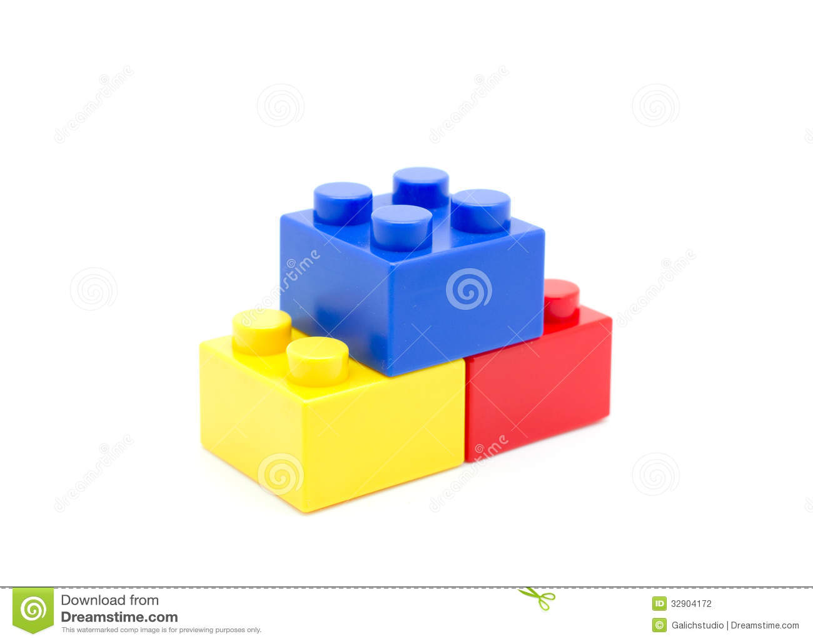 Plastic Building Blocks On White Background Stock