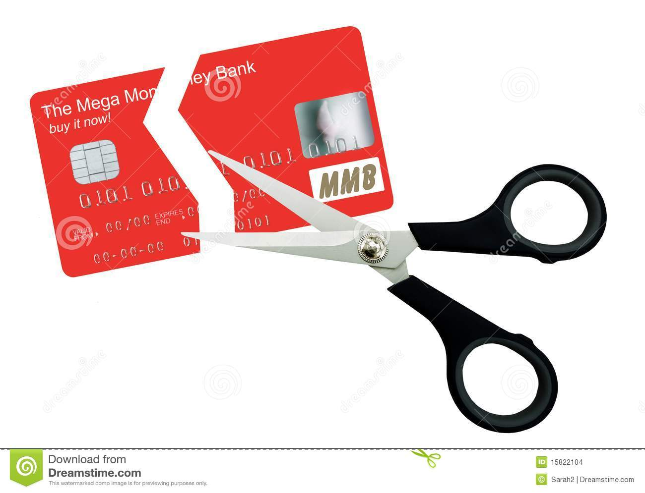 Plastic card cut in two