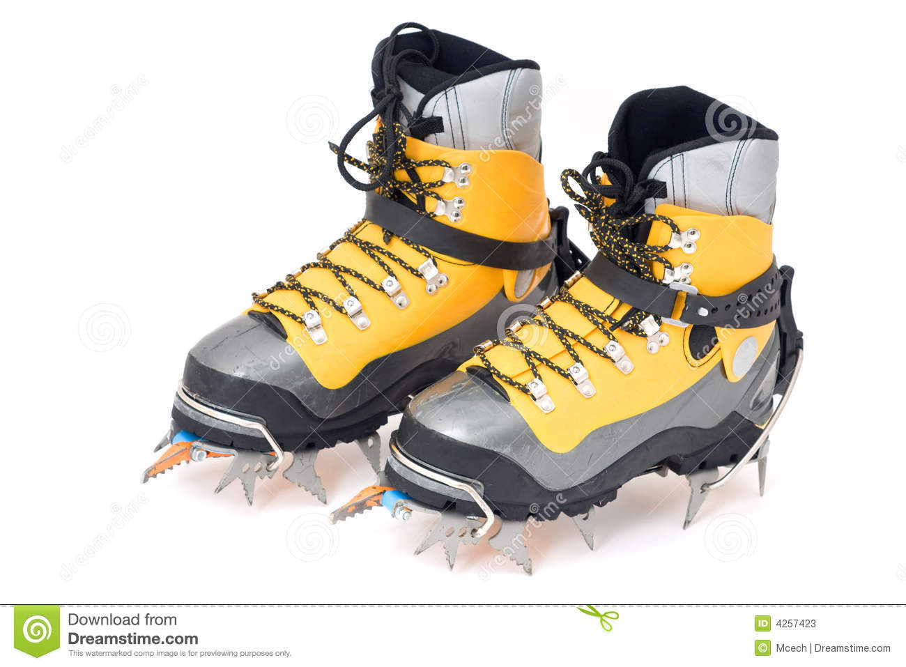 Plastic Climbing Boots With Crampons Stock Photos Image