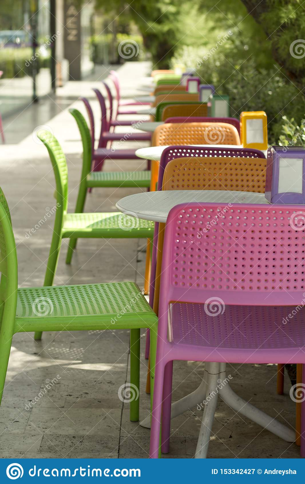 Plastic Colorful Tables And Chairs In The Cafe Stock Image Image Of Bright Hotel 153342427