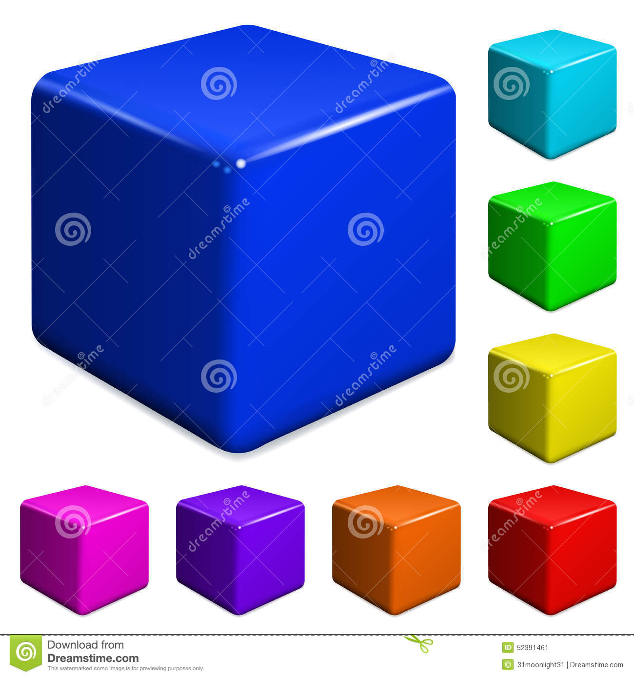 Plastic Cubes Stock Vector - Image: 52391461