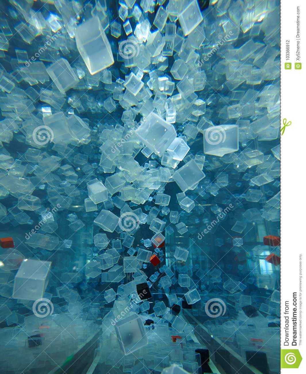 Plastic cubes in water