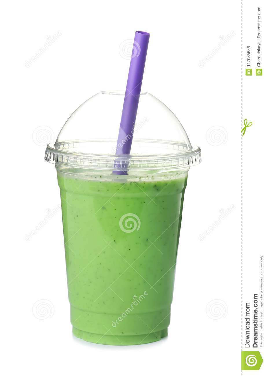 Plastic cup with delicious detox smoothie