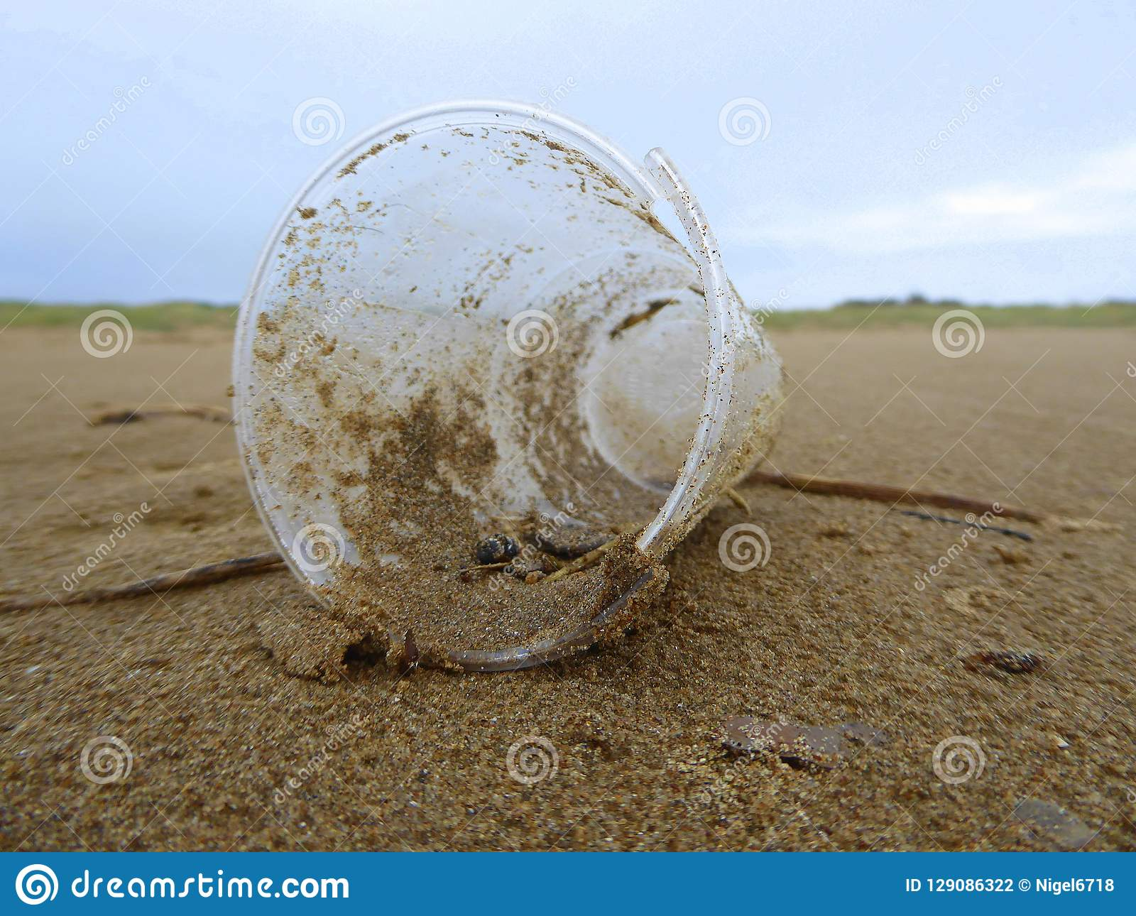 Plastic cup litter on beach