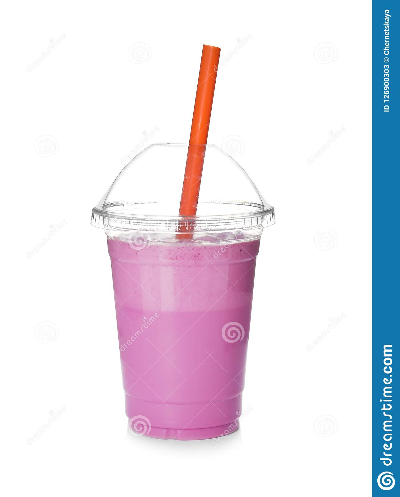 Plastic cup with tasty milk shake