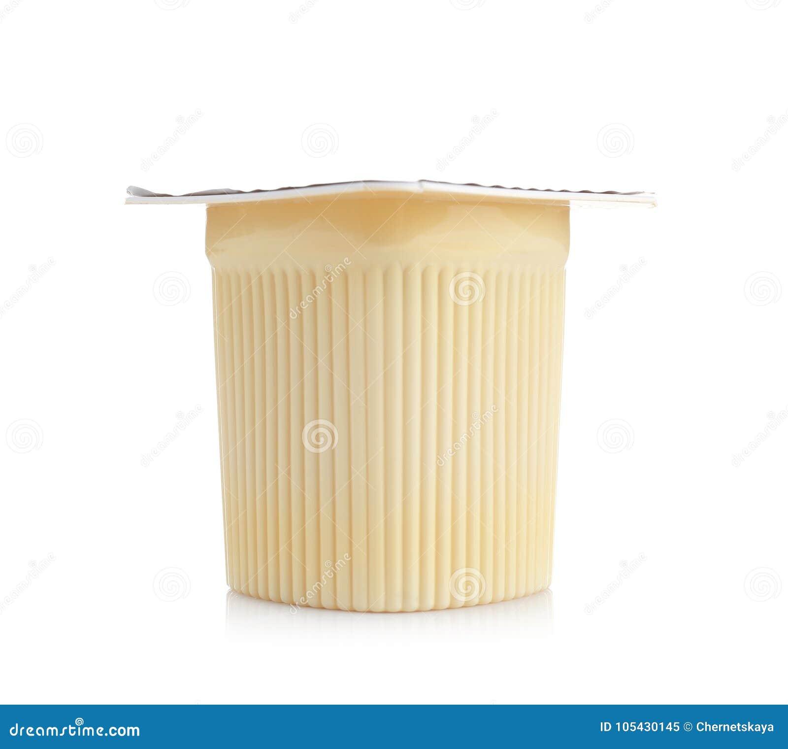 Plastic cup with yogurt