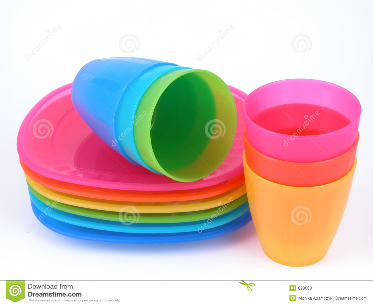 Plastic cups and plates. Stack colour.  sc 1 st  Dreamstime.com & Plastic cups and plates stock photo. Image of stack colour - 829008