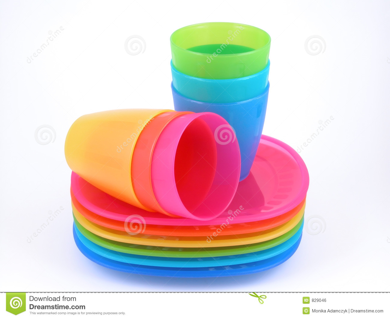 Plastic Cups And Plates Royalty Free Stock Image
