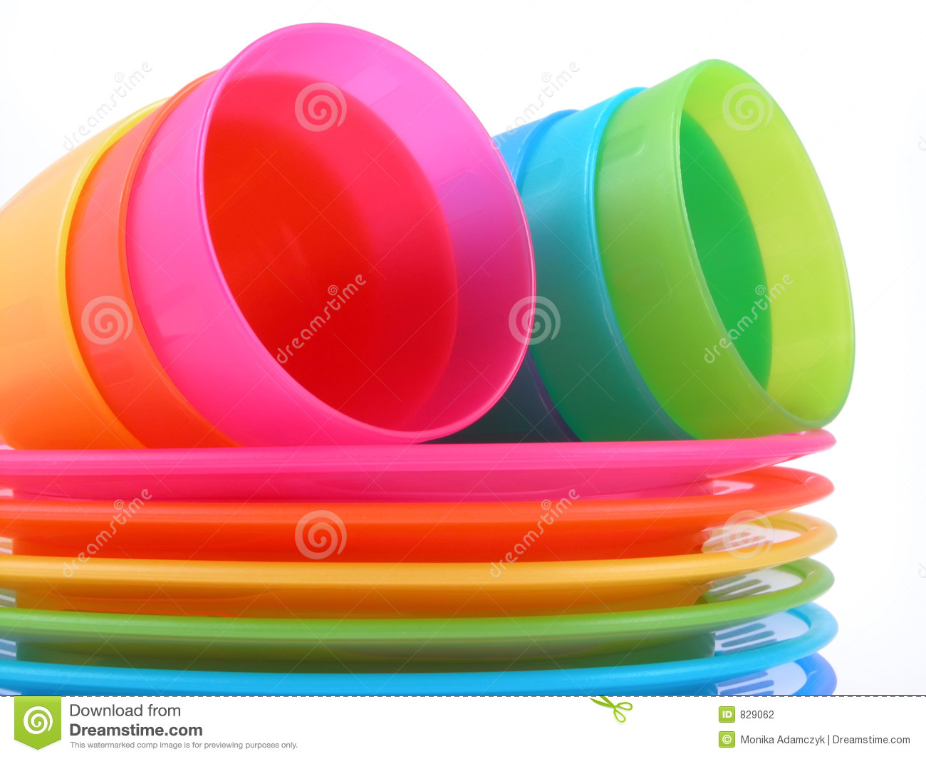 Plastic cups and plates