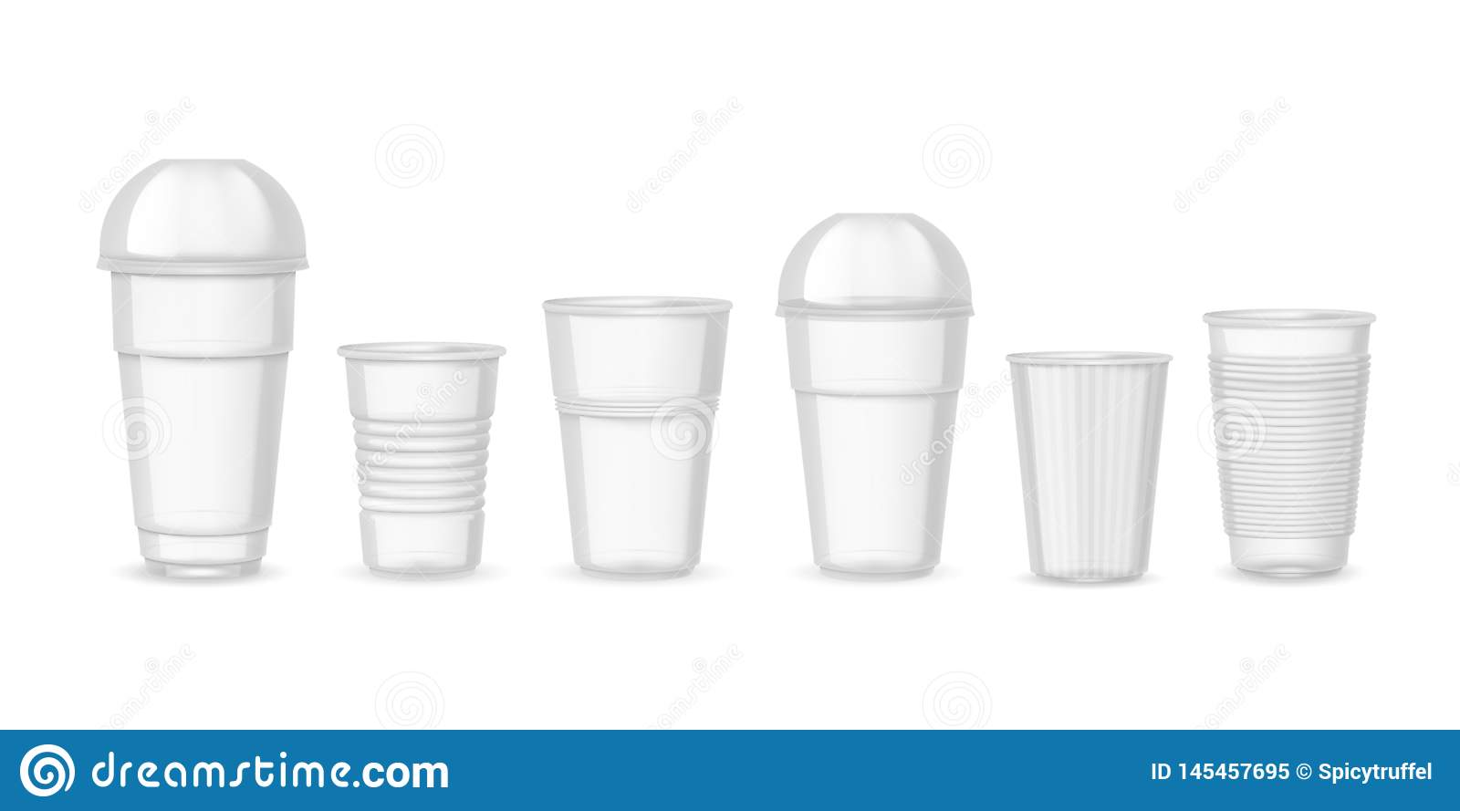 Plastic cups. Realistic transparent coffee juice and beverage containers mockup. Vector design templates isolated on