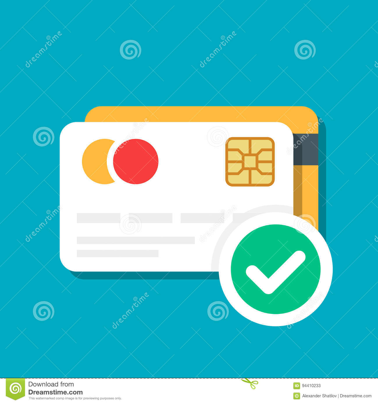Plastic debit or credit card with a payment approved icon. Bank card. E-commerce. Vector illustration isolated on color