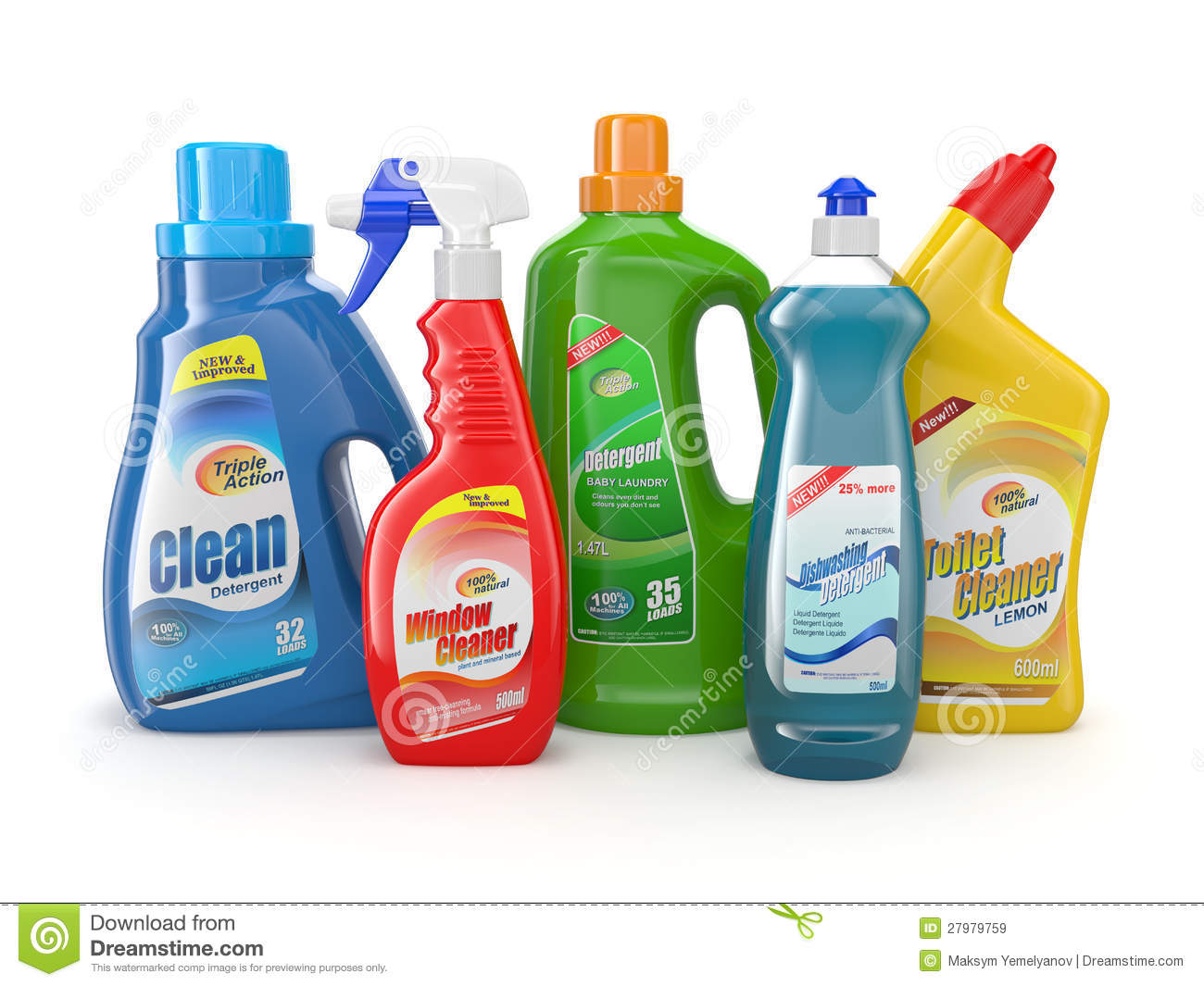 Plastic Detergent Bottles Cleaning Products Royalty Free