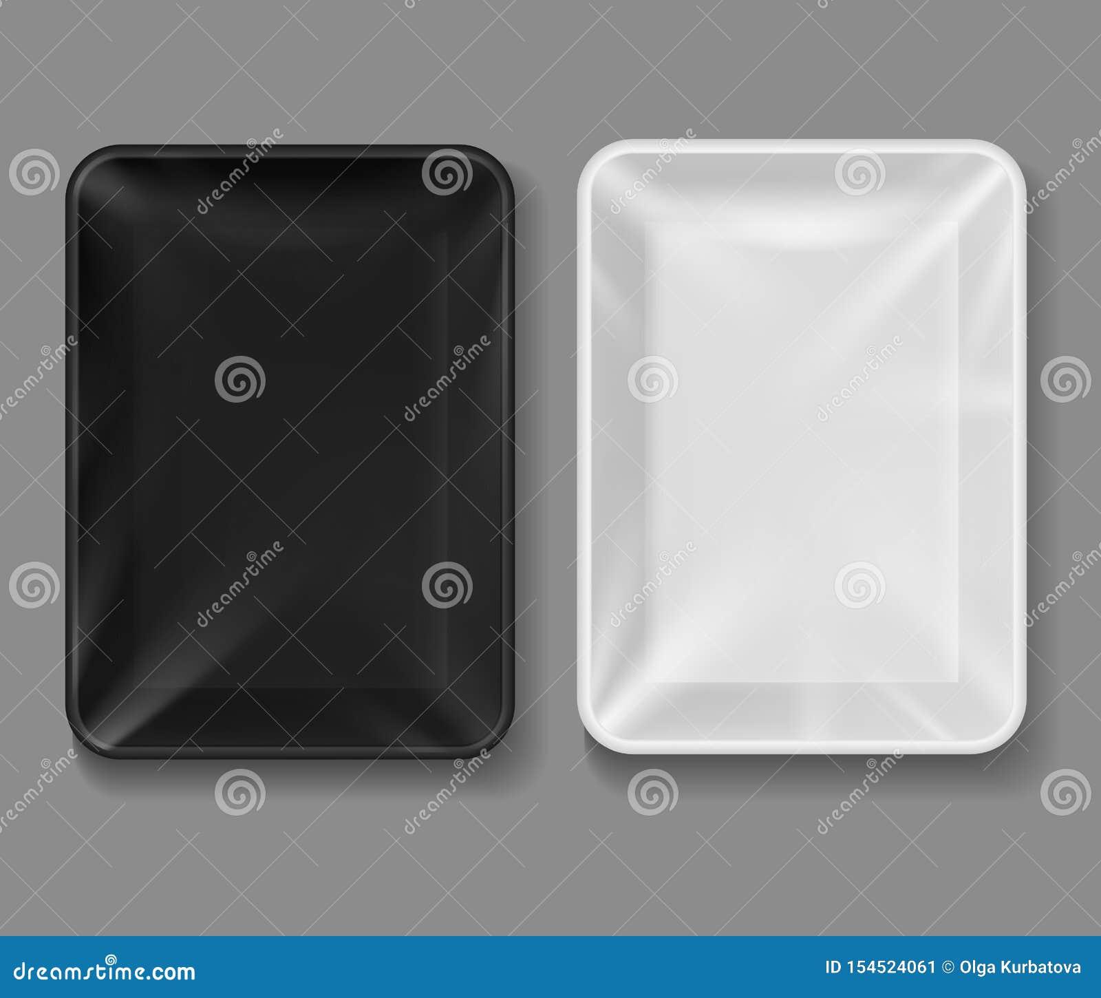 Plastic dienblad Voedselpakket met transparante omslag, zwart-witte lege containers voor groenten, vlees Vacuüm 3d dozen