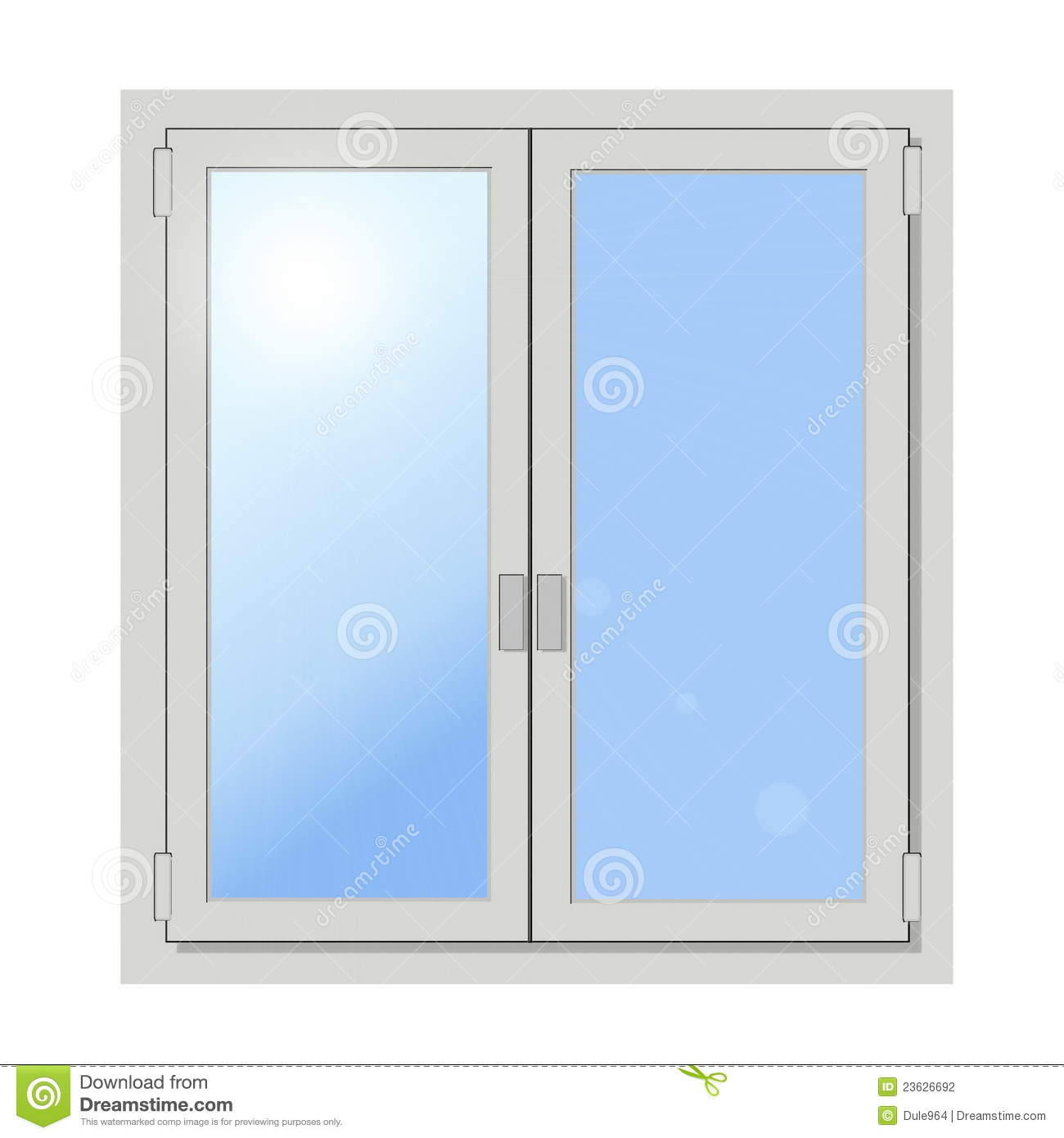 Plastic Double Door Window Isolated Stock Illustration