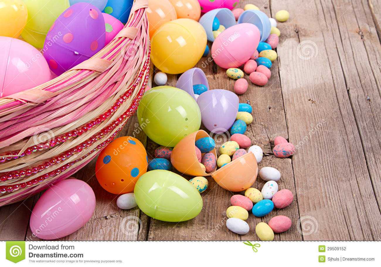 plastic easter eggs and candy royalty free stock photography 29509061. Black Bedroom Furniture Sets. Home Design Ideas