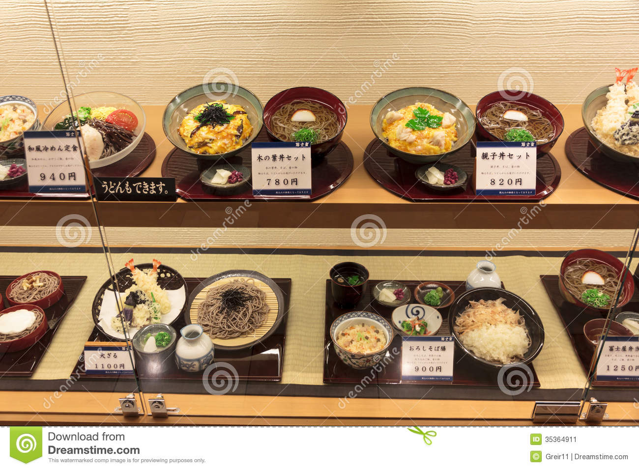 Plastic food models in the window of a japanese restaurant for Asian cuisine restaurants