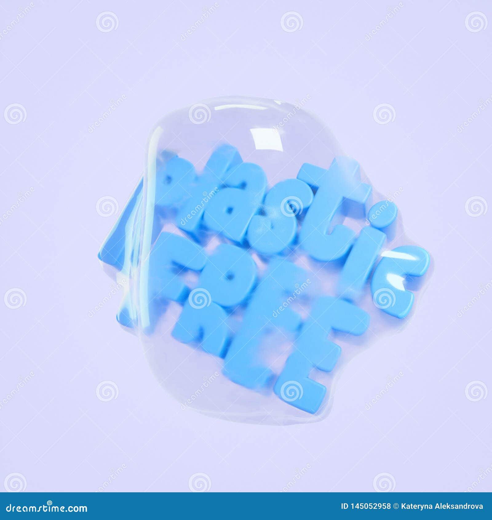 Plastic free 3d illustration rendering lettering. Save planet concept.
