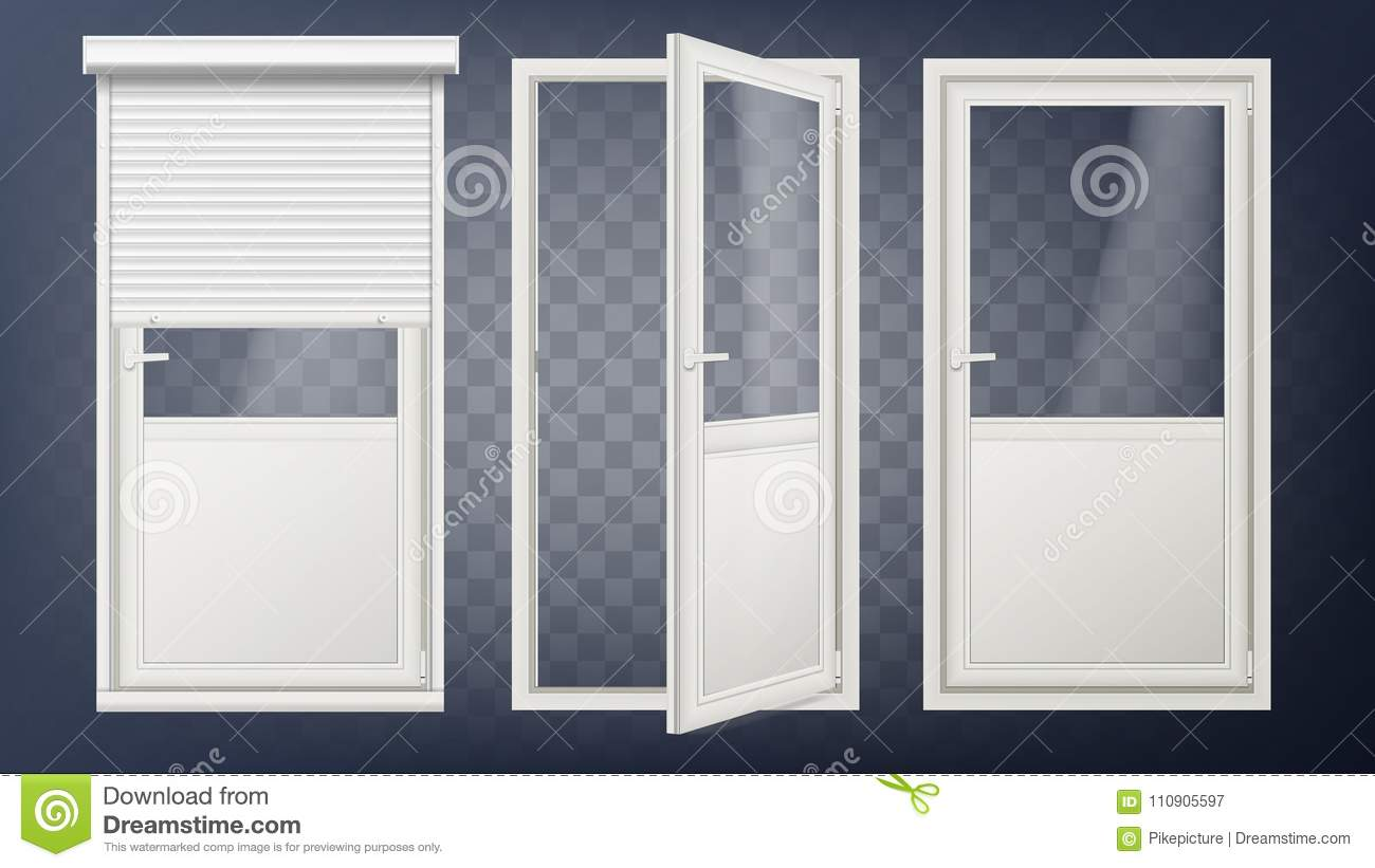 Plastic glass door vector white roller shutter opened and closed roll up shutter