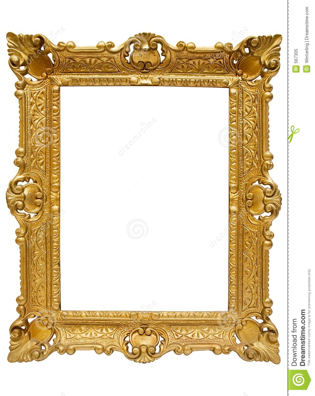Plastic Golden Picture Frame W Path Stock Image Image