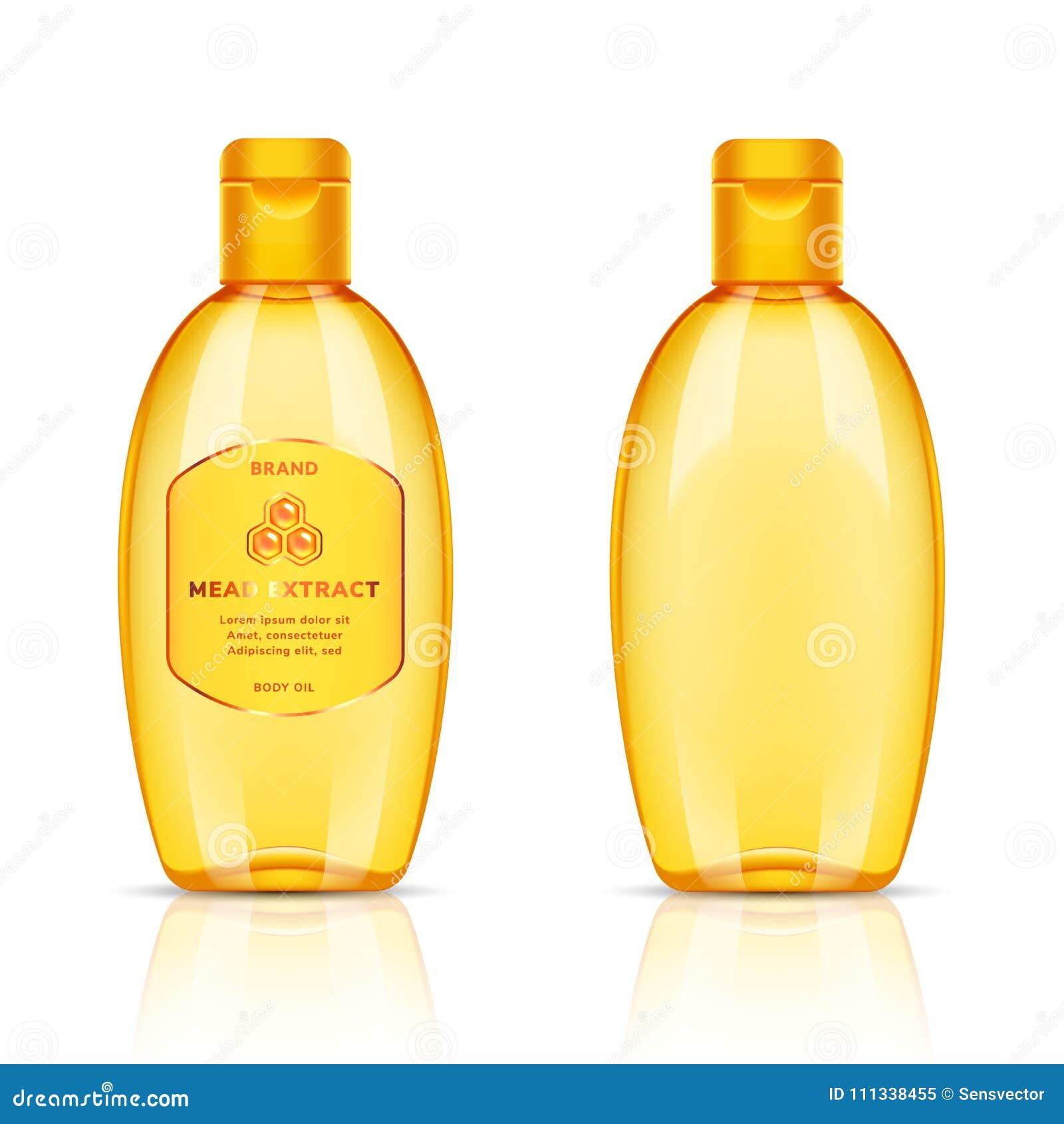 Plastic Golden Transparent Bottle For Body Oil, Shampoo, Soap, Gel