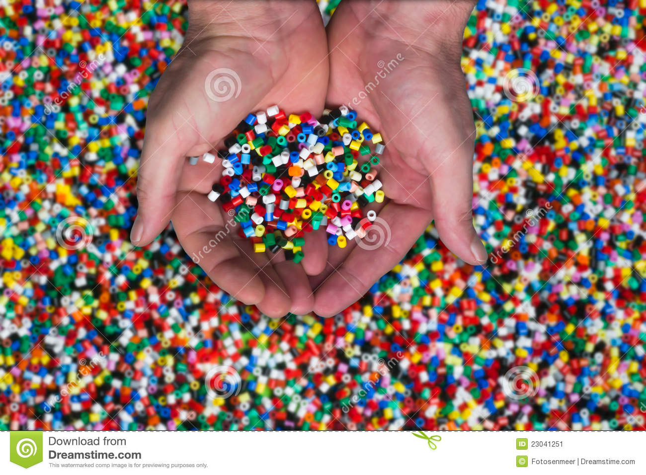 Plastic granules or plastic beads for children to play with.