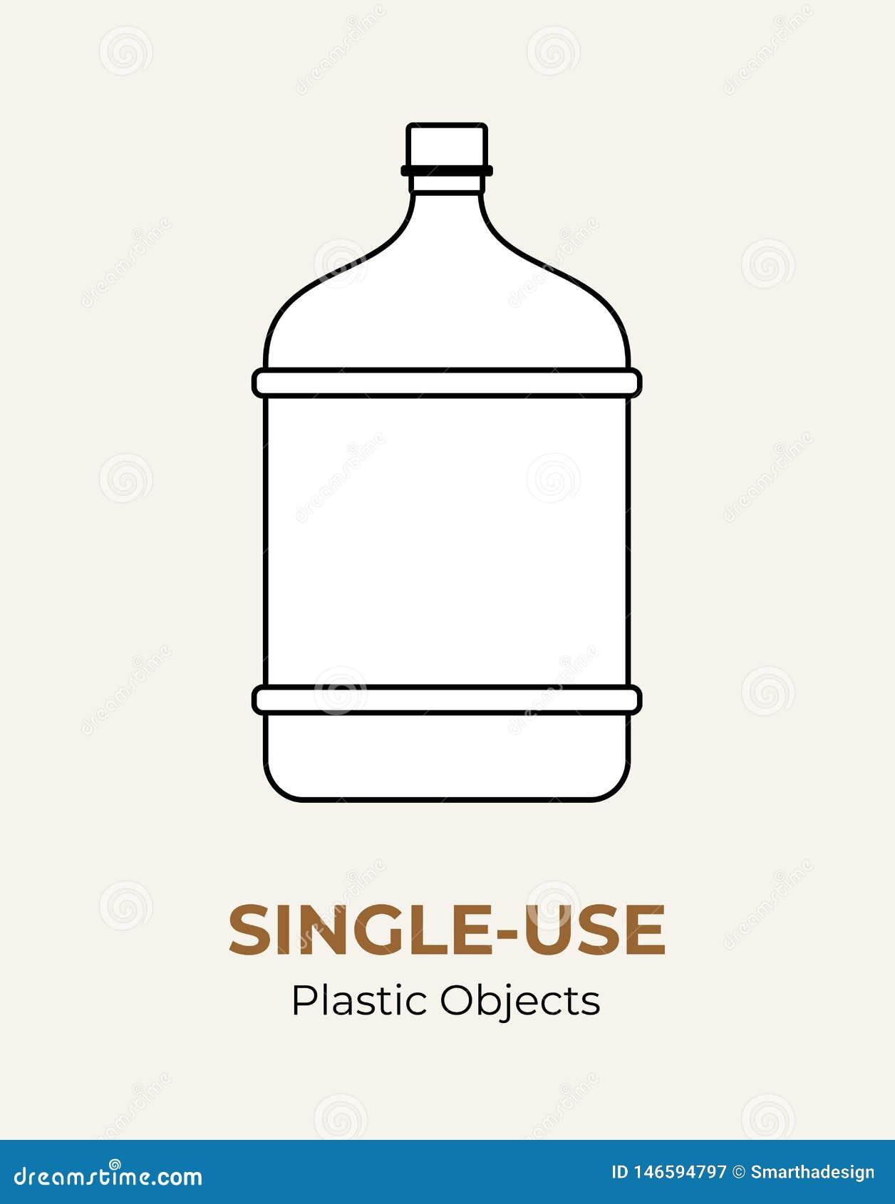 Plastic grote fles voor ??nmalig gebruik Vectorillustratie van het recycling van plastic fles Ge?soleerde transparante grote fles