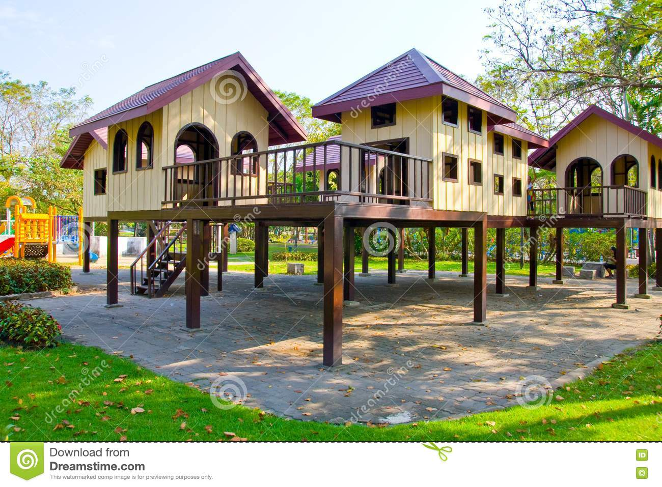 Plastic House At The Playground Stock Photos Image