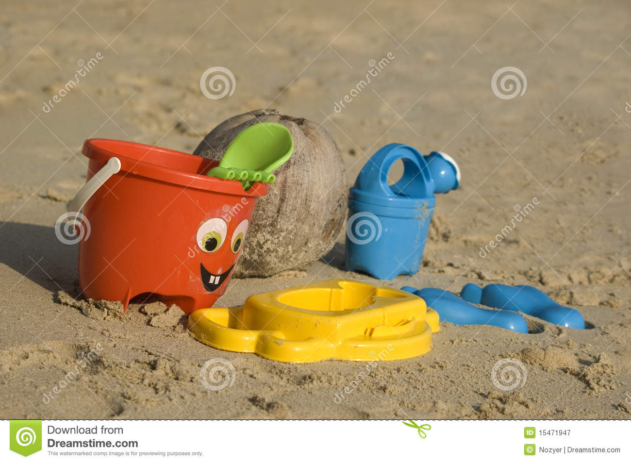 Toys For Beach : Plastic kids toys on the sand beach stock image
