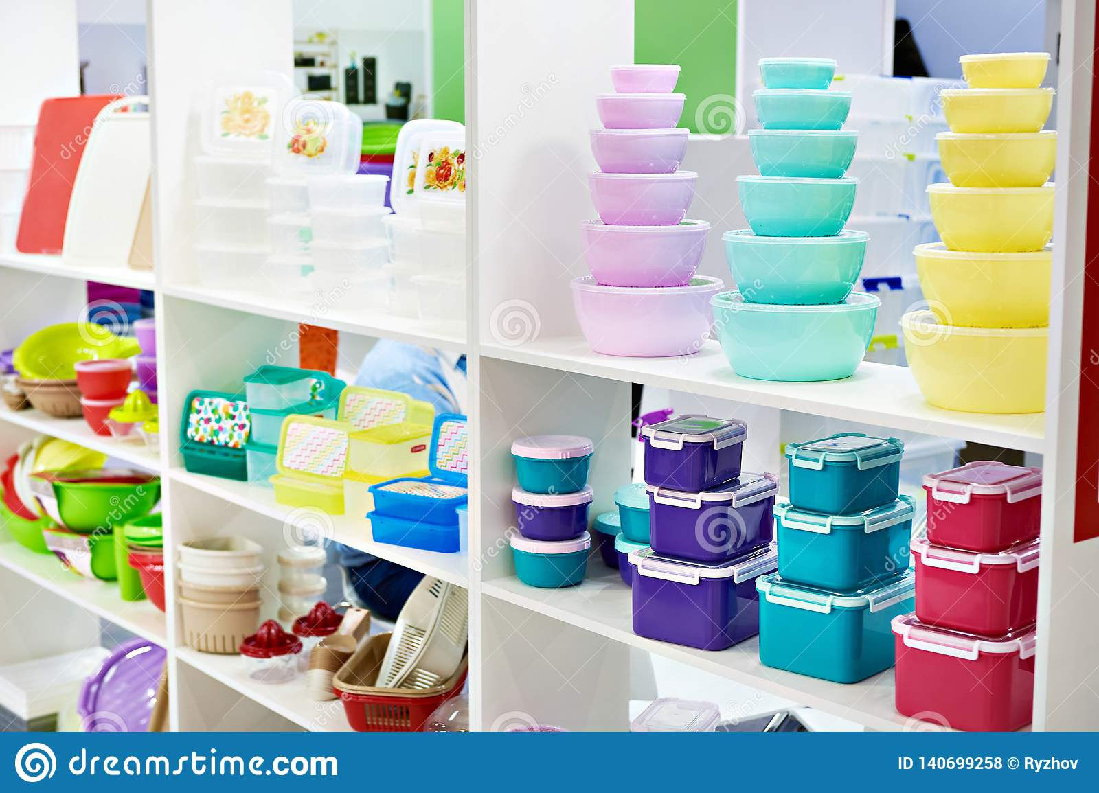 Plastic Kitchen Food Containers In Store Stock Photo - Image ...