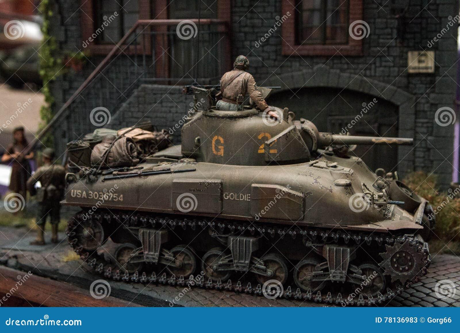 Plastic model tank stock image  Image of model, hand - 78136983