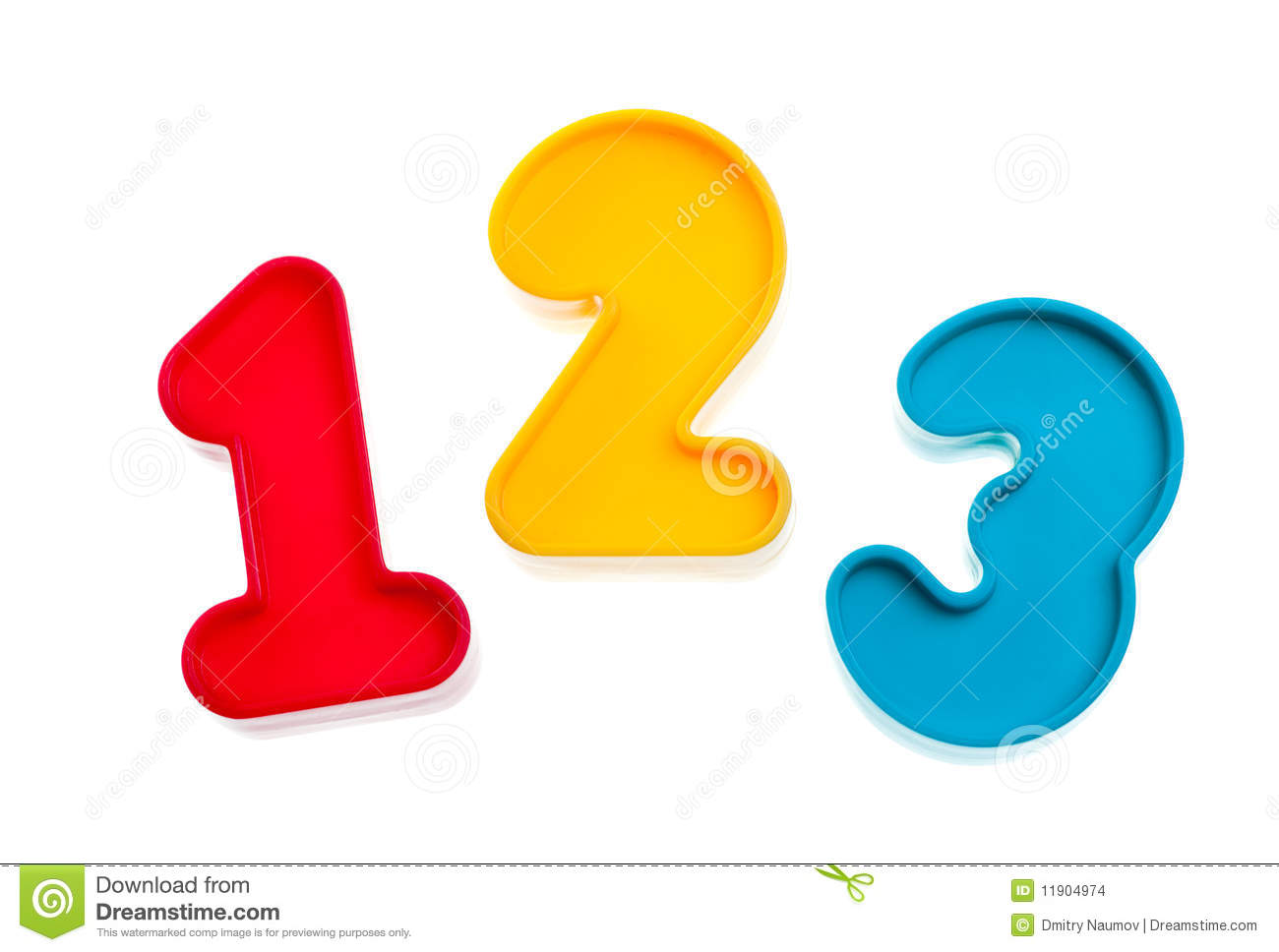 Colorful plastic numbers one two three on white background.