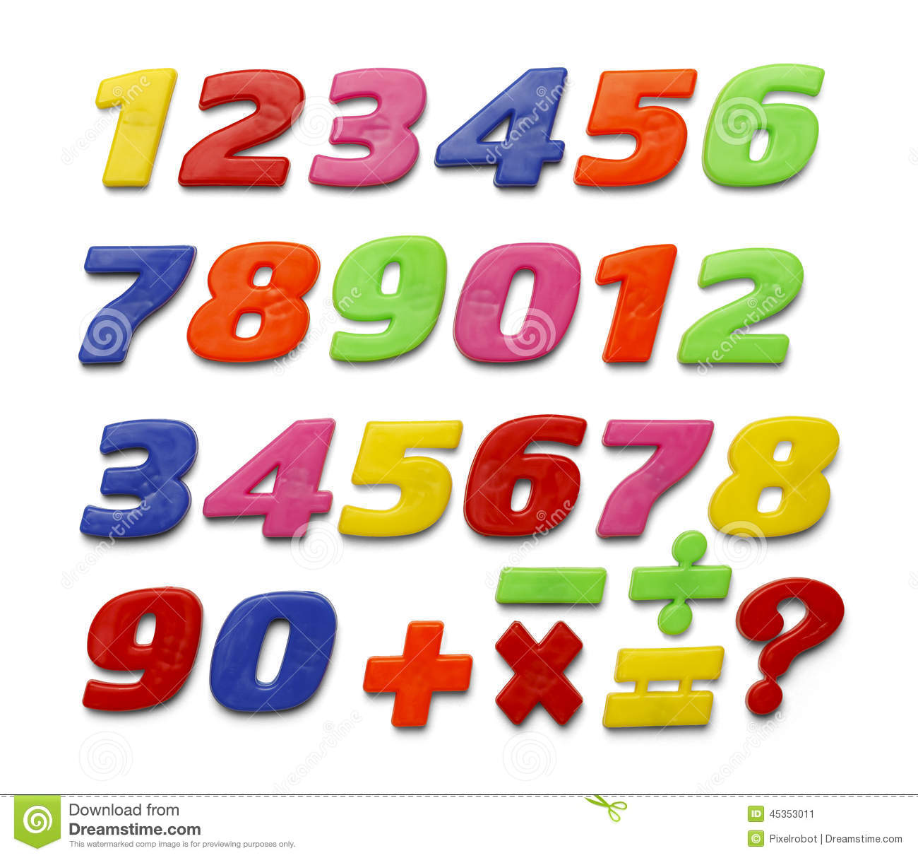 Colored plastic magnetic numbers stock photo for White magnetic letters and numbers