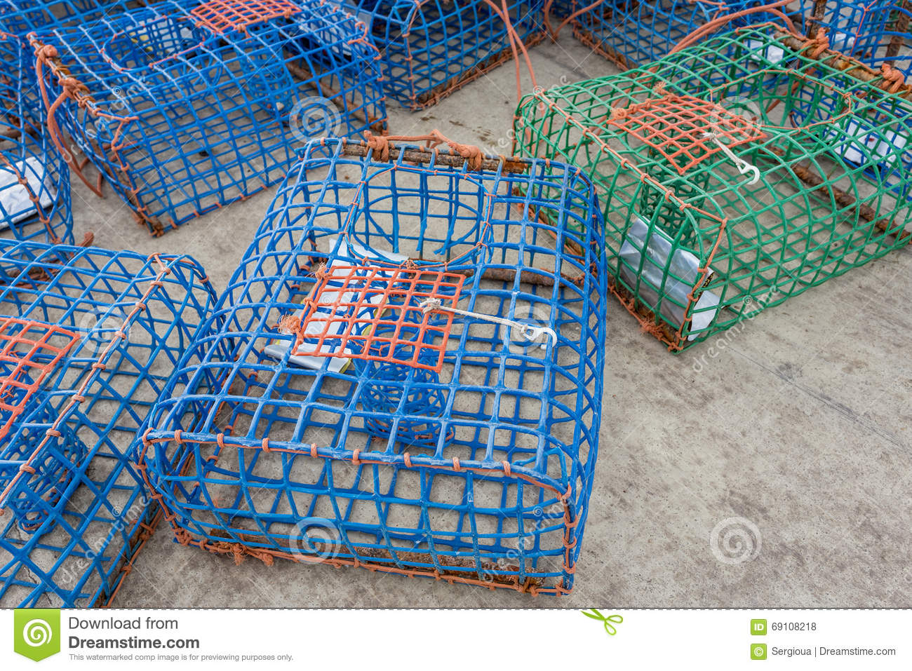 Plastic Octopus And Crab Traps. Stock Photo - Image: 69108218