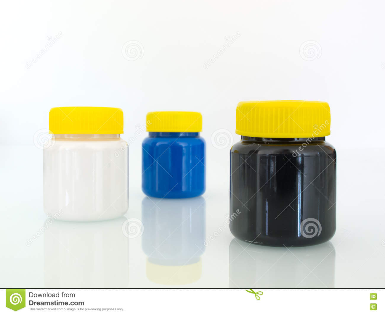 Plastic Paint Pots stock image  Image of graphic, different