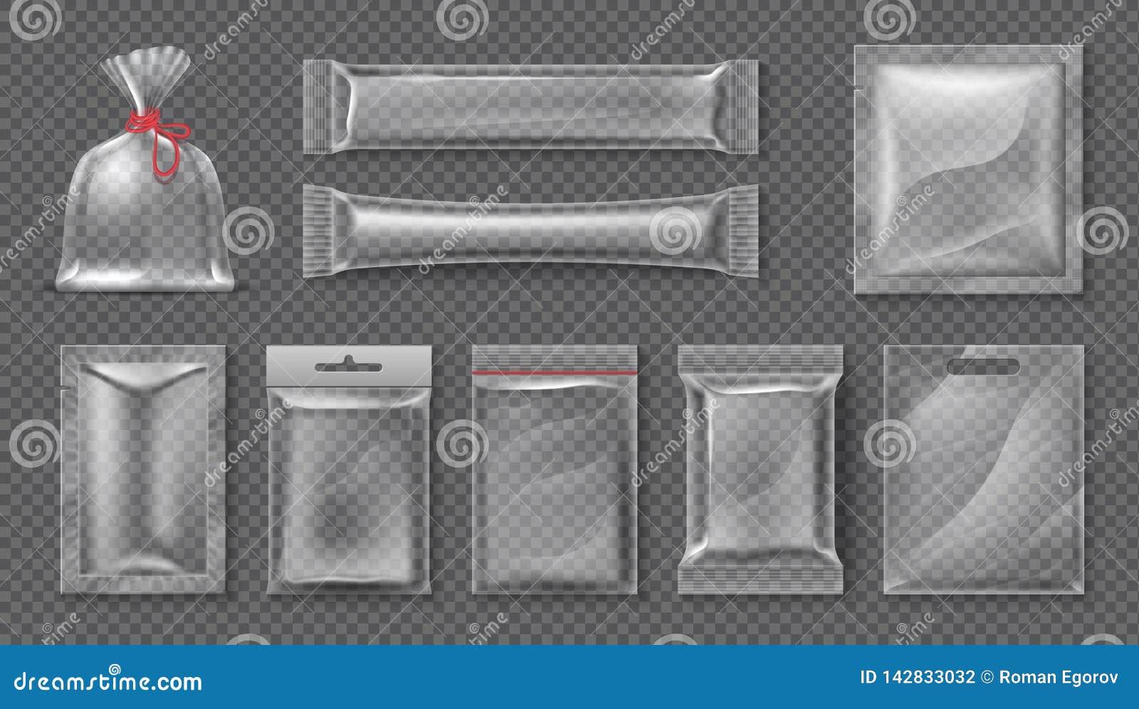 Plastic Pakket Realistisch duidelijk zakmodel, 3d transparante reeks van het voedingsmiddelenpak, lege glanzende folie Vectorsuik