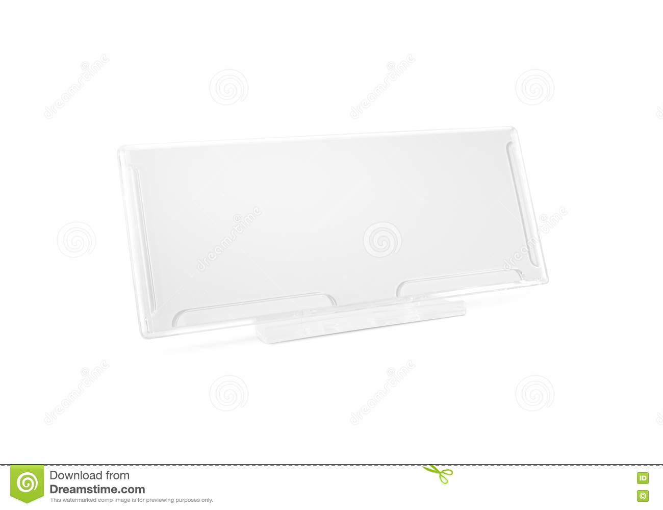Plastic Paper Holder Mock Up Stand On Desk Isolated. Nameplate G