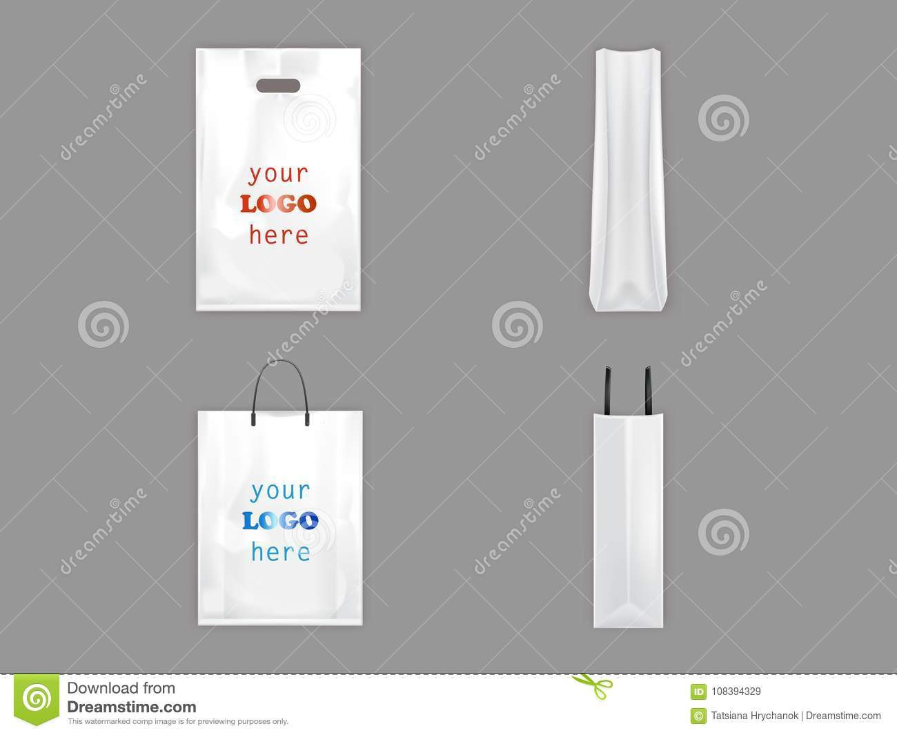 Plastic And Paper Shopping Bags Vector Isolated 3D Realistic White ...