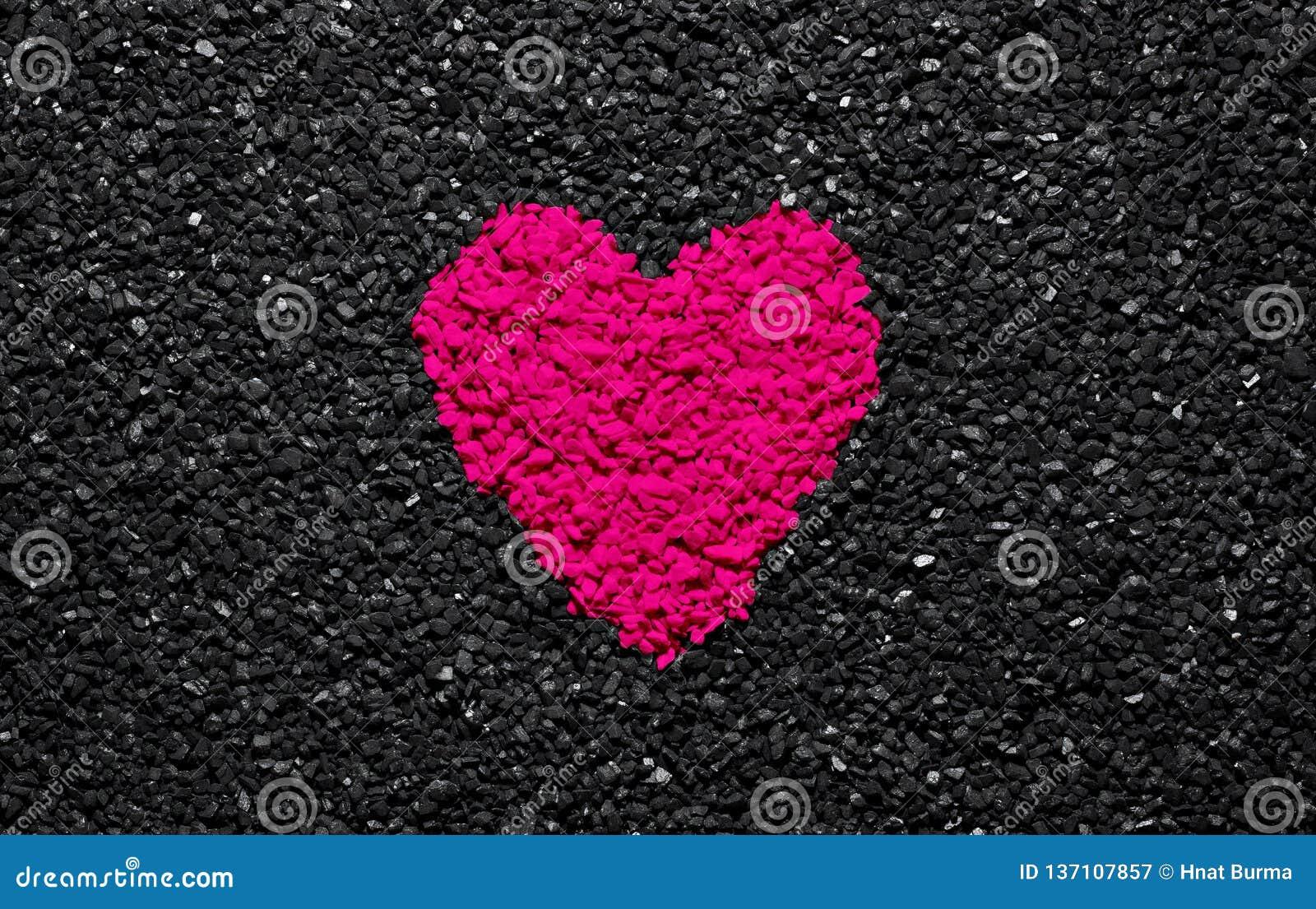 Plastic Pink Colour Trendy Colour Heart On The Black