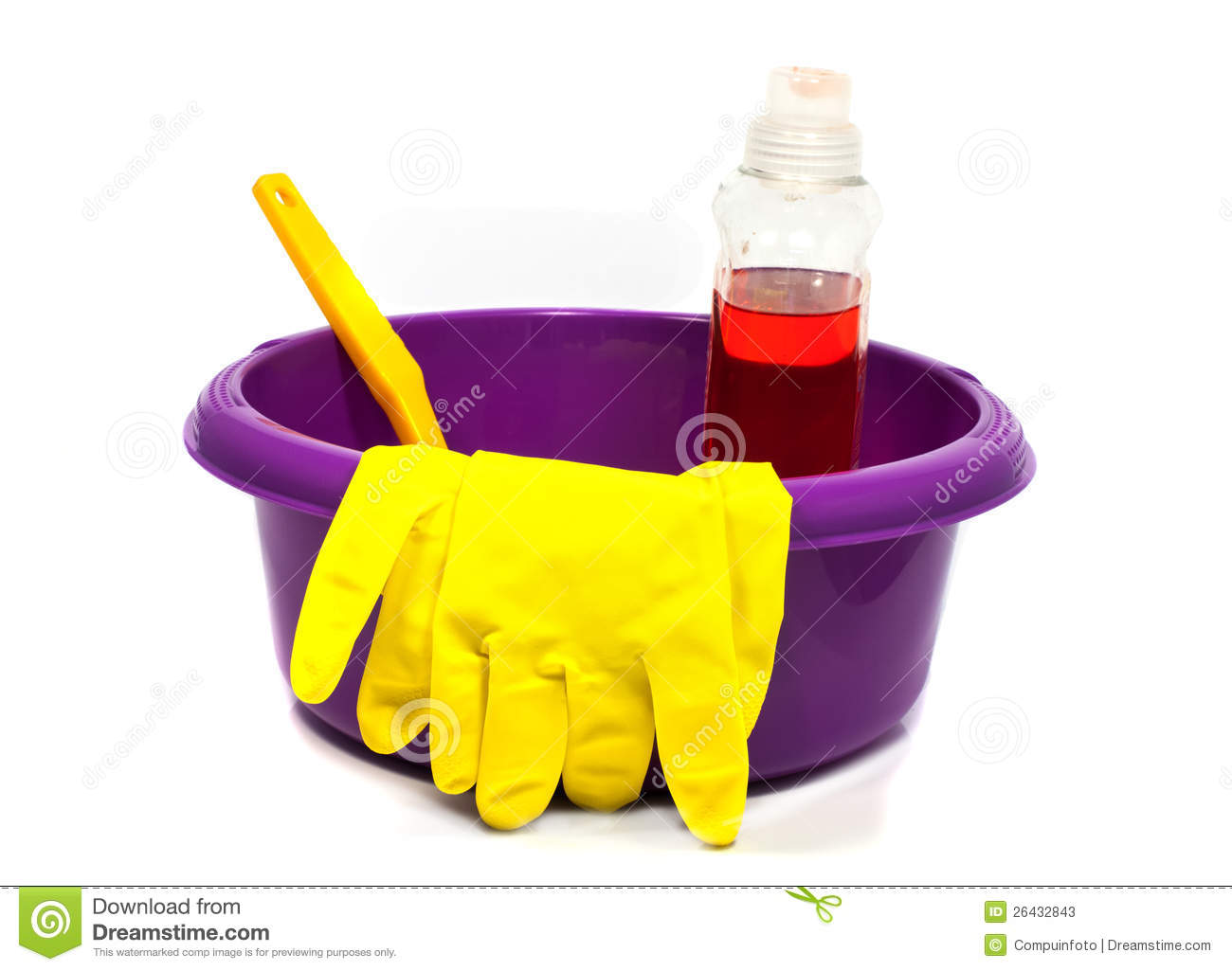 Plastic pink sink with cleaning tools
