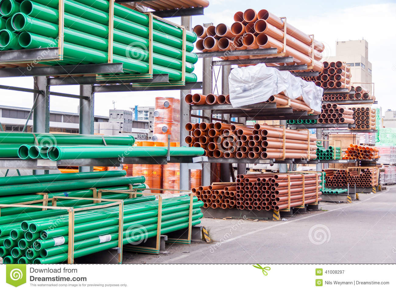 Plastic Pipes In A Factory Or Warehouse Yard Stock Photo
